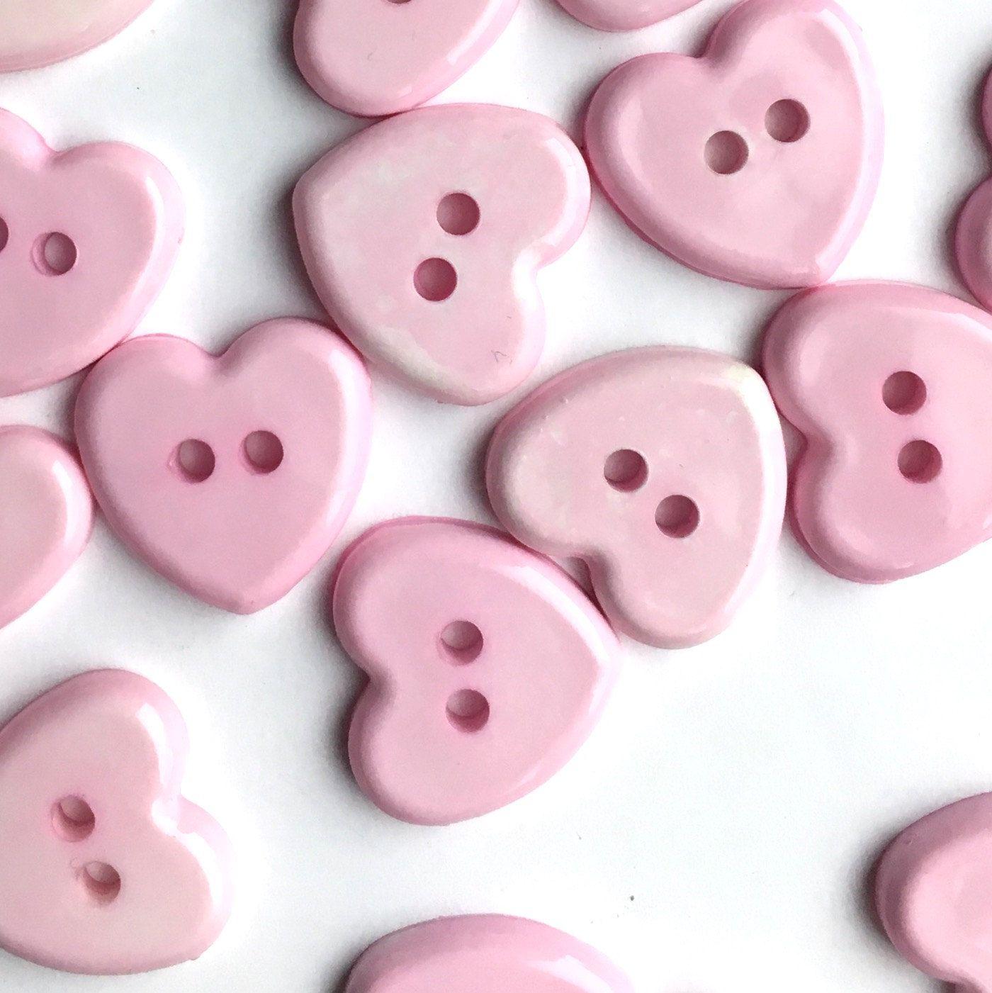 10 x white opalescent heart buttons 18L 11mm UK seller