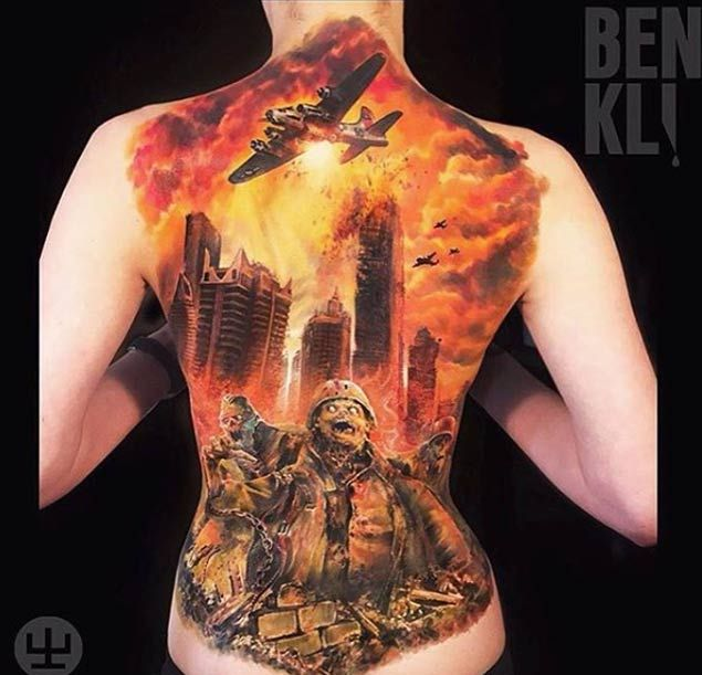 Zombie Apocalypse Full Back Tattoo By Ben Klishevskiy Apocalypse Tattoo Zombie Tattoos Tattoos