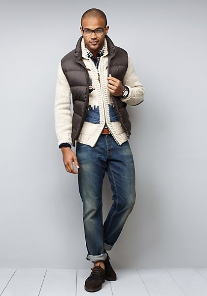 b52f4b38cfa Tommy Hilfiger nordic knit sweater   puffer vest