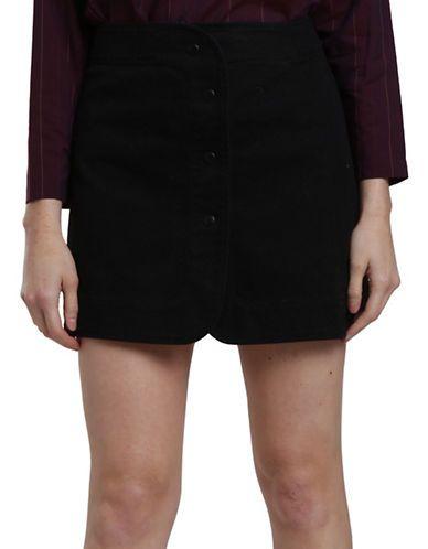 Carolina K Curved Wrap Skirt Women's Black Small