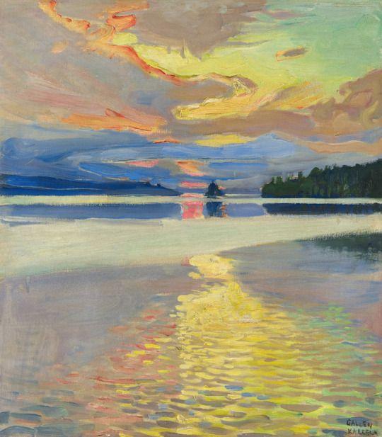 Best of Akseli Gallen Kallela Finnish 1865 1931 Sunset over Lake Ruovesi Contemporary - Simple lake painting