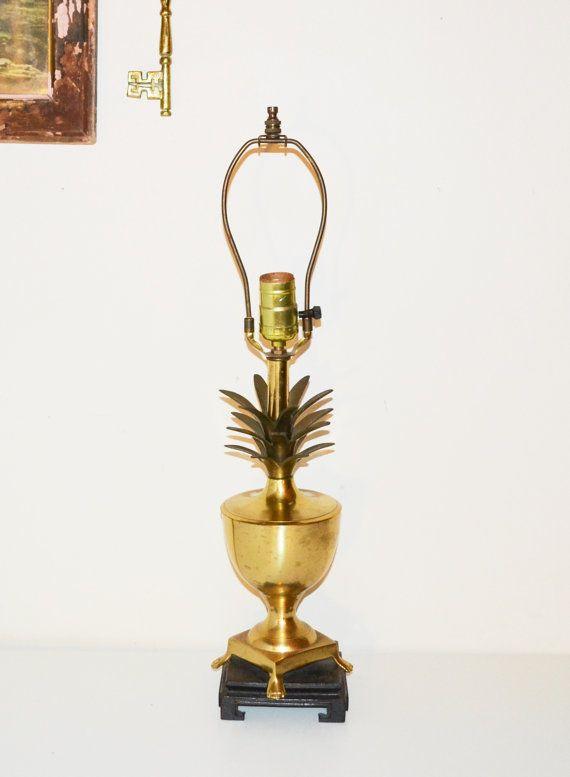 Vintage Brass Pineapple Lamp Brass Pineapple Hollywood Regency Brass Lamp  Mid Century Pineapple Lamp Chinoiserie Chic Lamp