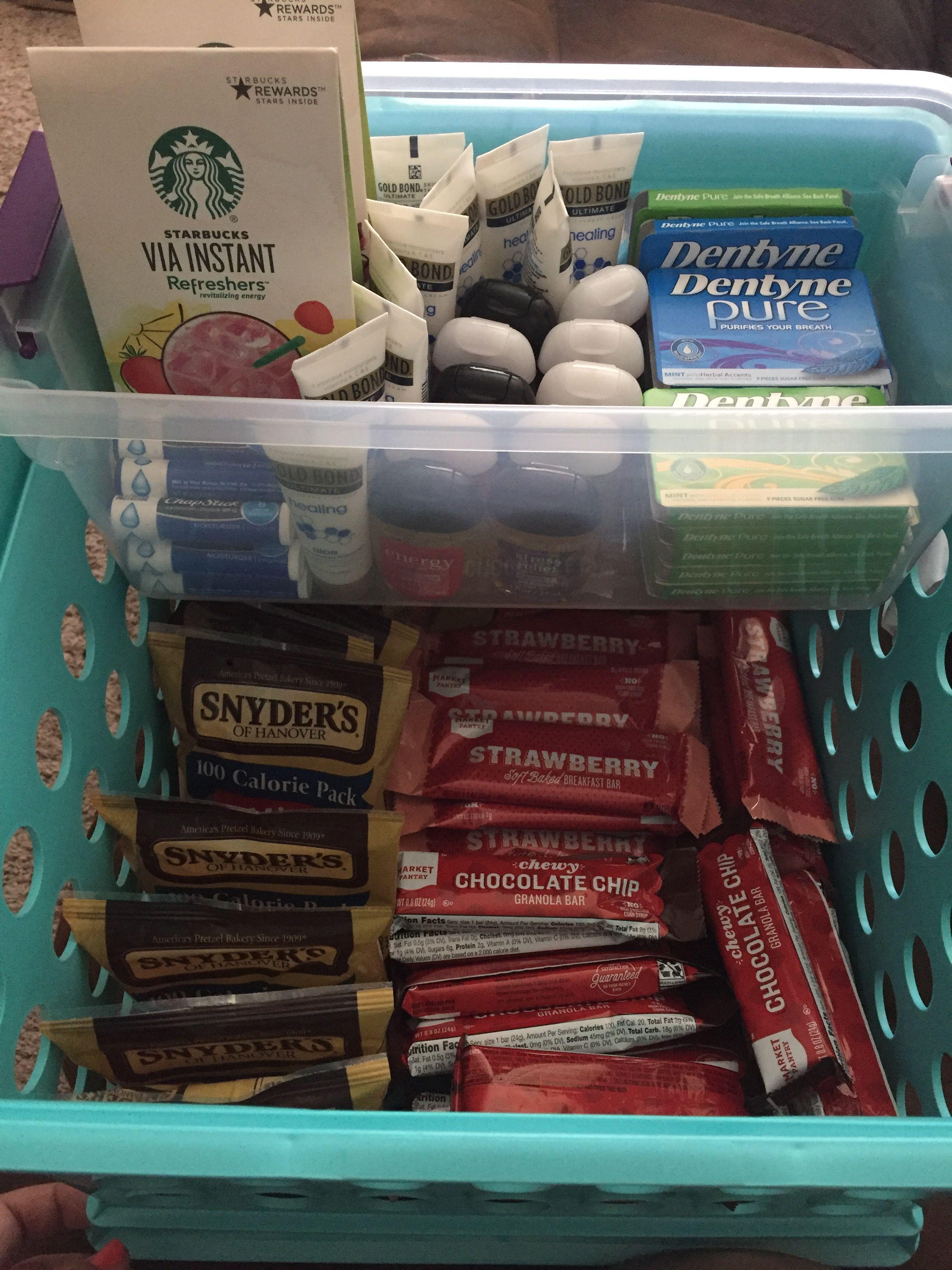 Labor Delivery Nurse Thank You Basket Pretzels Granola Bars