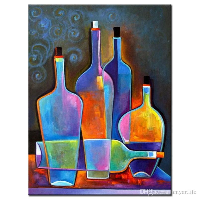 Hand Painted Modern Still Life Painting Coloring Bright Wine