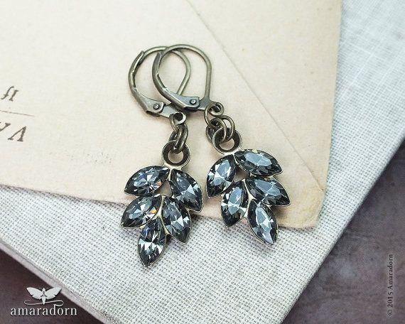 Black Diamond Crystal Earrings Vintage Style Leaf Smokey Grey Rhinestone 1940 S 1950 Hollywood Jewellery Handmade Uk