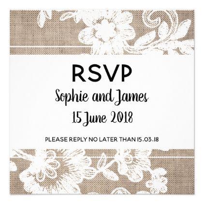 Burlap lace wedding rsvp invitation burlap lace wedding rsvp card wedding invitations cards custom invitation card design marriage party stopboris Images
