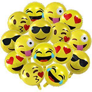 18 Party Emoji Mylar Balloon NALAKUVARA Bright Yellow Clolor Inch Smiley Face Latex Helium Balloons For Birthday Or Holiday Decoration 15 PACK
