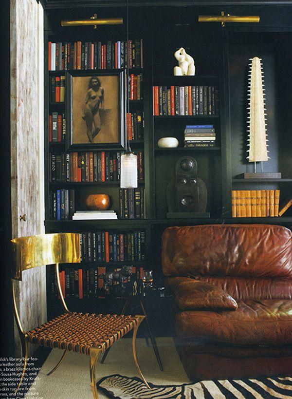 Masculine Black Bookshelves Via Elle Decor Inside Home