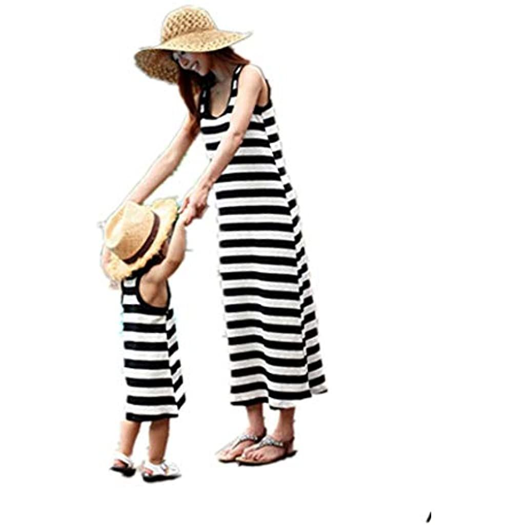 Photo of Loalirando Madre e Figlia Abiti Estivi a Righe Abiti Famiglia Senza Manica Abito Bambina Principessa/Vestiti Donna Lunghi Eleganti Estate da Spiaggia