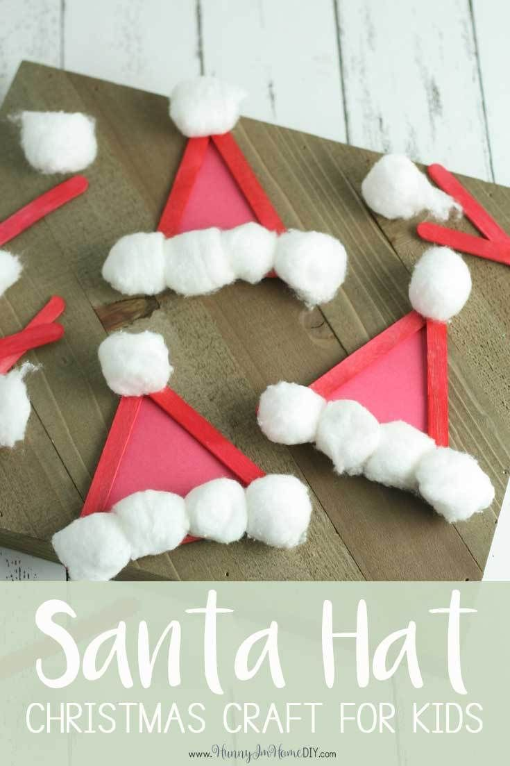This adorable Santa hat craft is the perfect Christmas craft for kids from Hunny I'm Home DIY | Santa hat craft ideas | Santa hat craft preschool | Santa hat craft for kids | Santa hat craft kids | Christmas crafts for kids to make | Christmas craft DIY | Christmas crafts for kids #Christmas #craftsforkids #Christmascrafts