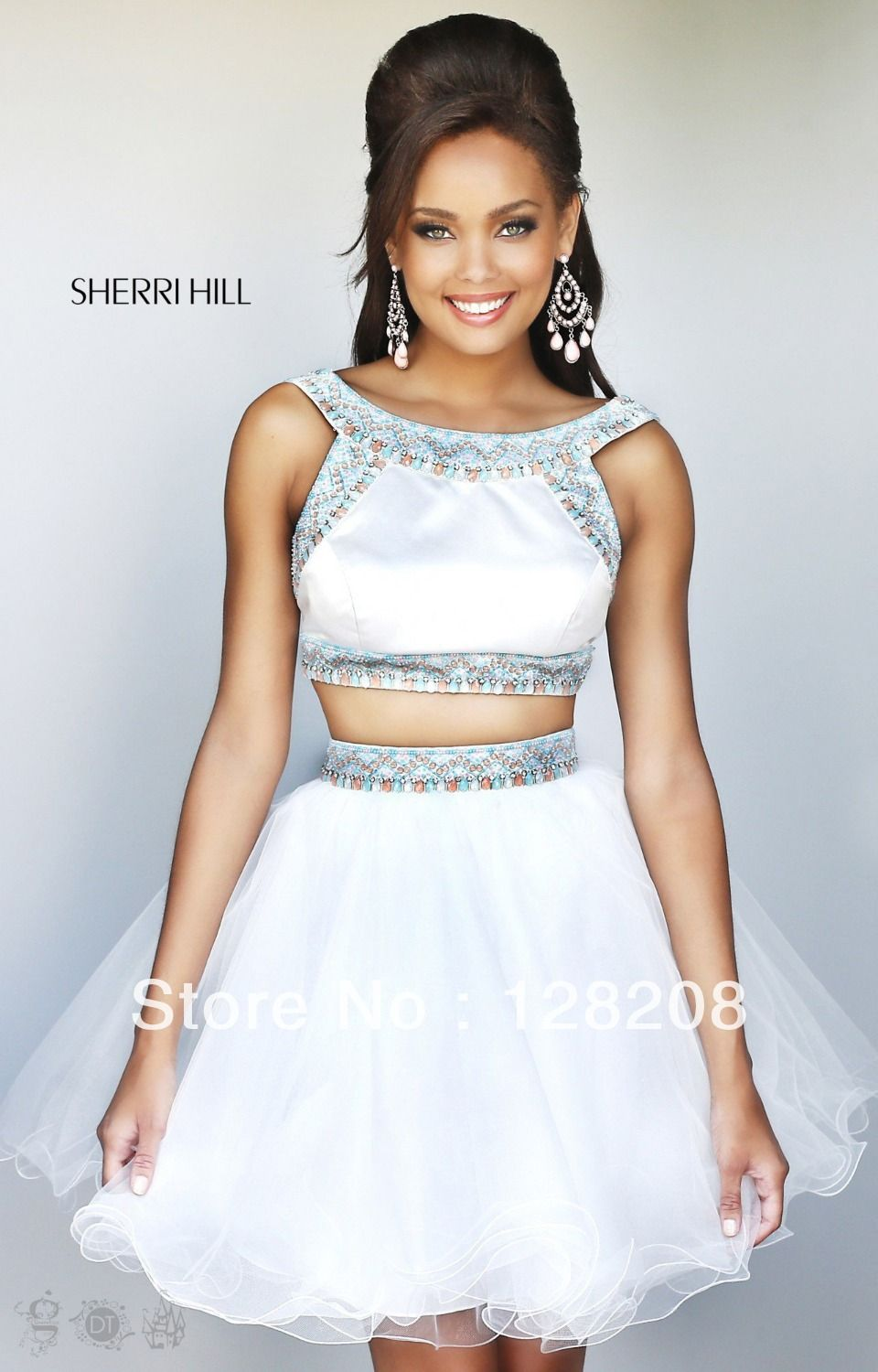 2 piece prom dresses 2014 | 2014 fashion white two piece short prom ...