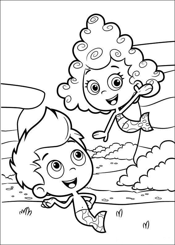 kleurplaat Bubble Guppies - Gil en Deema | Coloring Pages For Kids ...