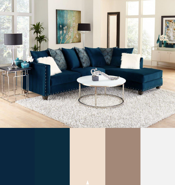Melon Sapphire Blue Sectional Sofa | Living Rooms | American Freight #livingroomcolorschemeideas