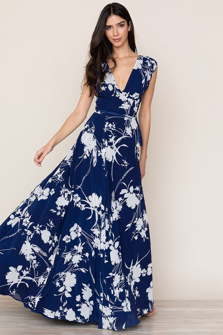 Yumi kim sashay away maxi dress floral dance midnight xxs navy