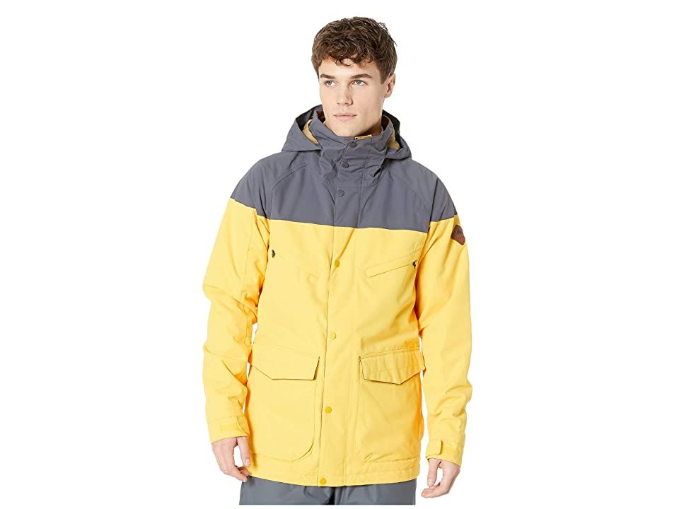 Burton Breach Jacket (Golden Rod/Trocadero) Men's Coat. Roll out in the Burton Breach Jacket and go ballistic on the slopes. DRYRIDE Durashell 2L fabric (10 000mm waterproof/10 000g breathability) delivers dependable protection from the elements. Insulated with 3M Thinsulate insulation. Zippered underarm ventilation promotes airflow and allows for more efficient body temperature regulation. Shell mapped with taffeta lining. Fu #Burton #Apparel #Top #Coat #Yellow
