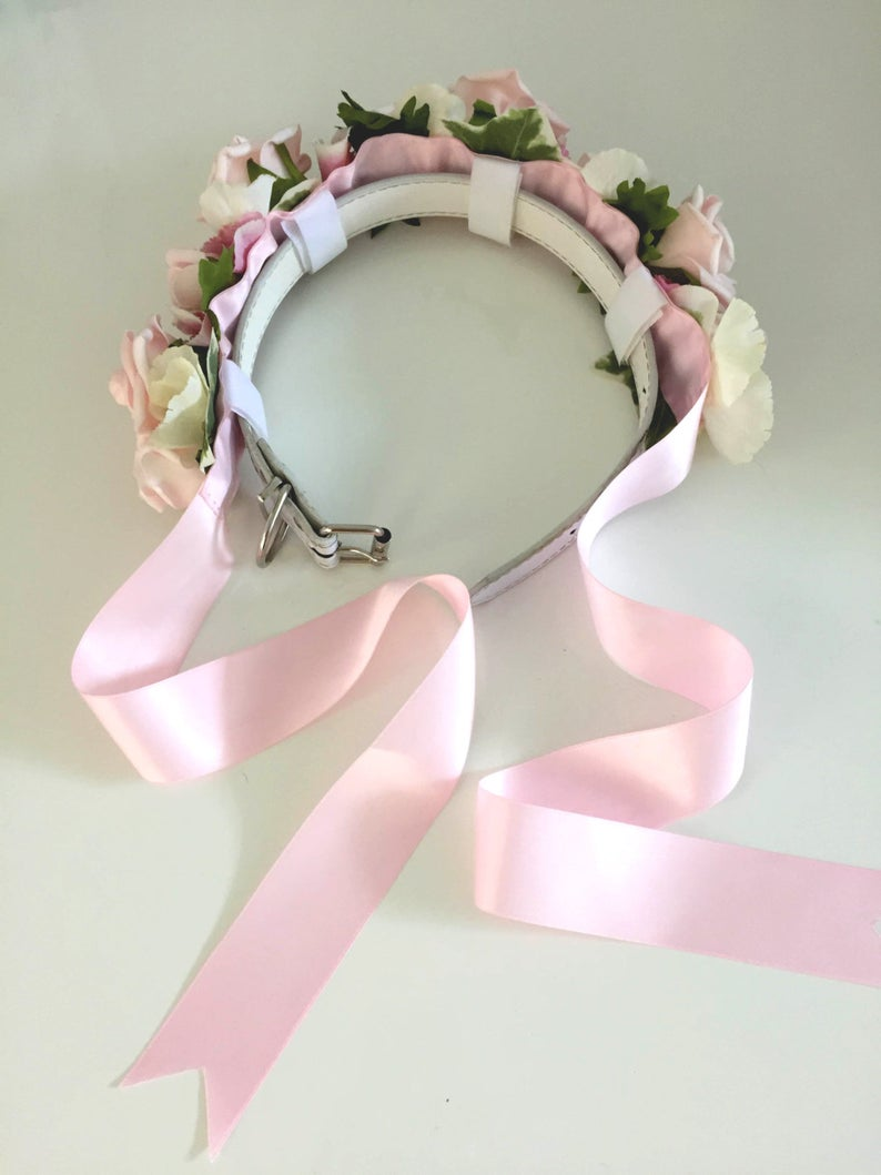 Flower Dog Collar for Weddings 'Pastel Pink Rose | Etsy