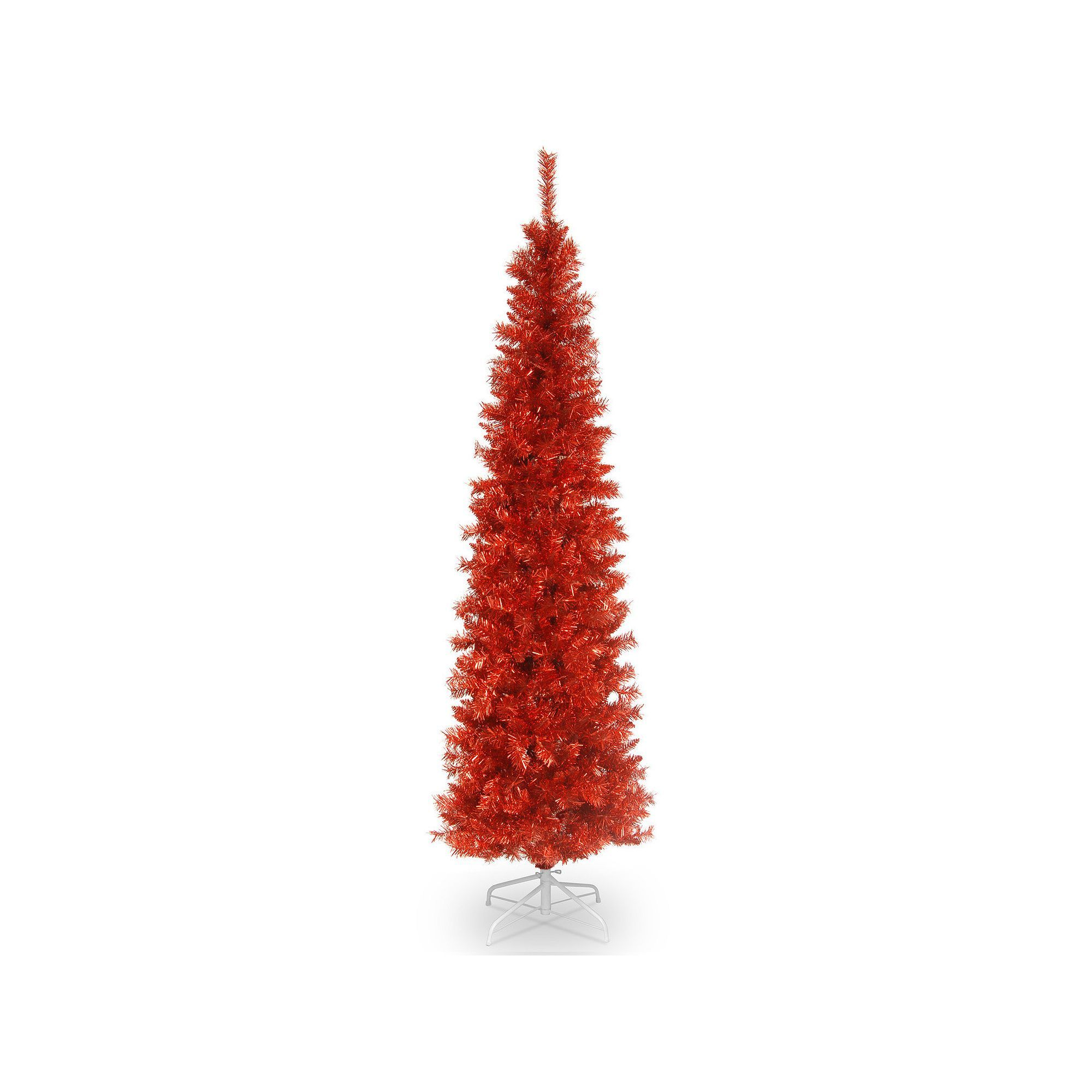 National Tree Company 6 Ft Tinsel Artificial Christmas Floor Decor Red