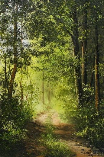 Woods Forest Landscape Painting Canvas By Uniqueartpaintings 110 00 Landscape Paintings Forest Landscape Nature Paintings