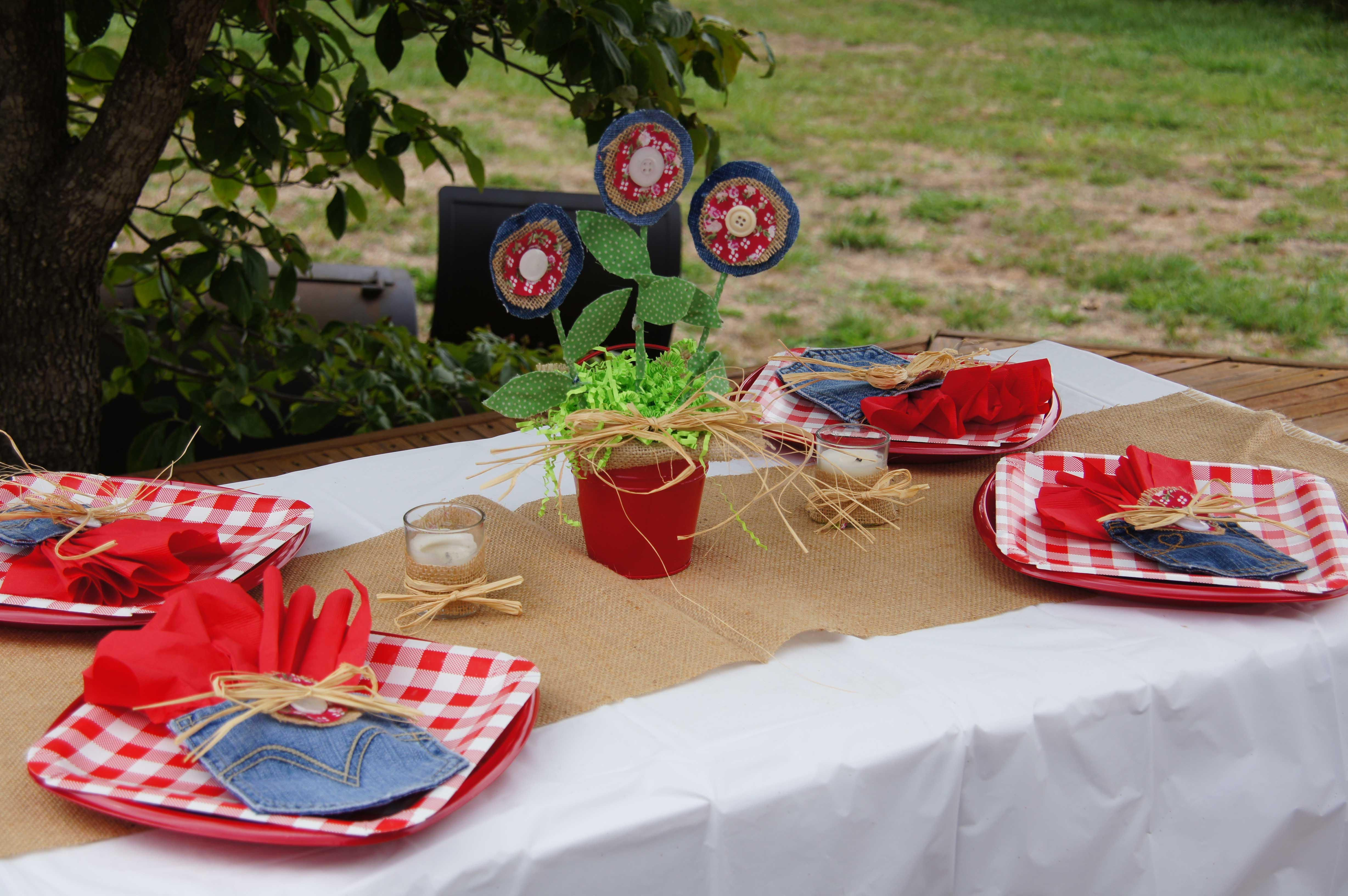 Backyard Bbq Decoration Ideas snack table details from a patriotic memorial day backyard bbq party via karas party ideas Backyard Bbq Party Decorating Ideas