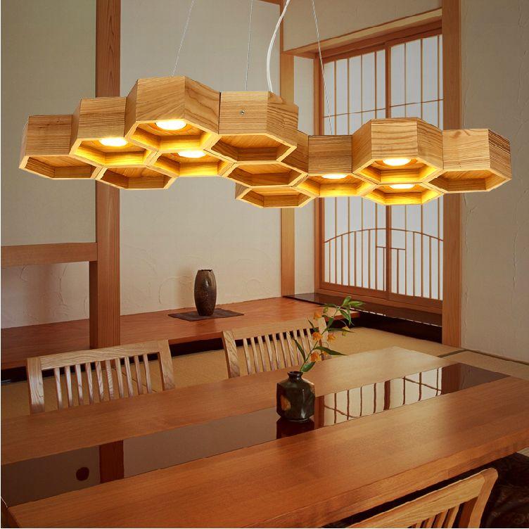 Nodic ikea creativo del arte l mpara de techo de madera - Caja de luz de madera ...