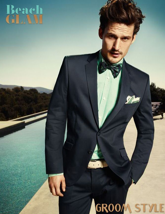 Navy Suit with Mint Shirt | Beach Glam Groom Style - Navy, Mint and ...
