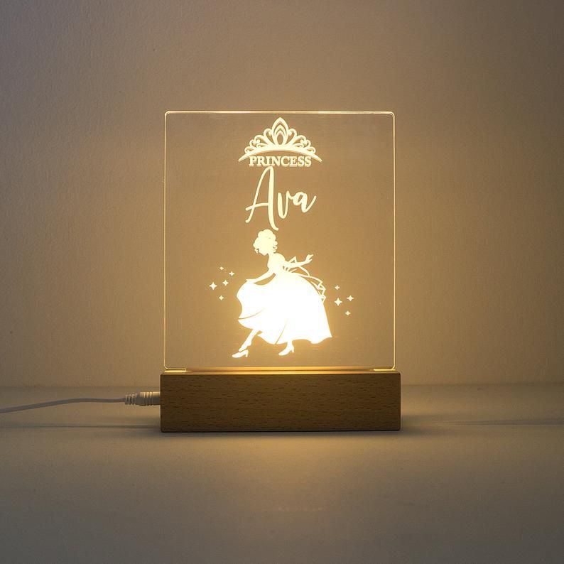 Personalised Princess Wooden Led Night Light Custom Engraved Etsy In 2020 Led Night Light Night Light Custom Engraving