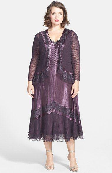 komarov lace inset charmeuse & chiffon dress with jacket (plus