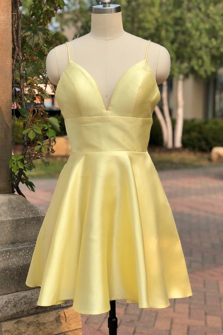 Cute yellow dresses 2019 spaghetti straps