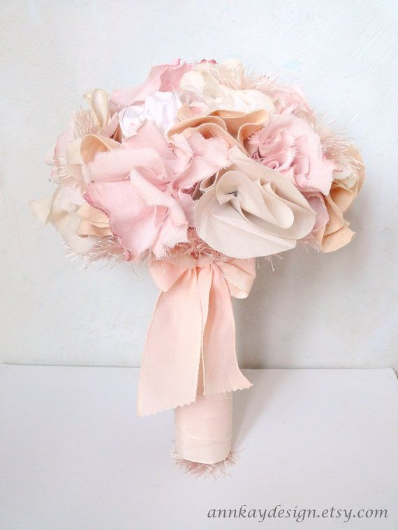 Fabric Bridal Bouquet with Blush and Soft Pink Flowers and Pearls on Etsy, $137.14