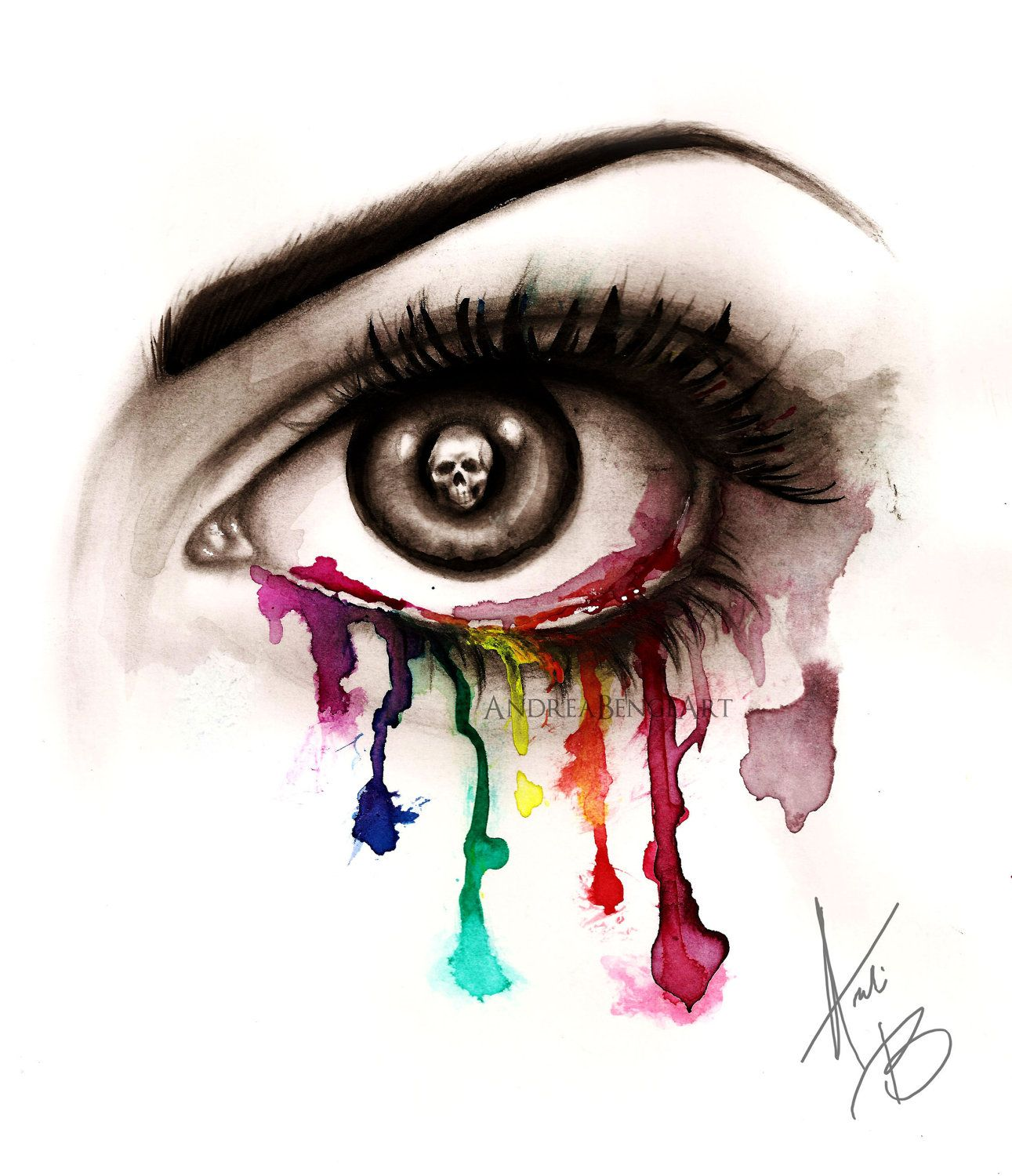 Beautiful Eye Of Death Art Print Abstract Surreal Goth Edgy Punk Rainbow Horror 700