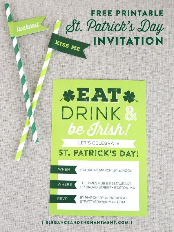 Printable St. Patrick\'s Day Invite | Party invitations, Saints and Free