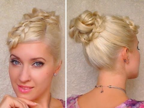Elegant hairstyle for long hair tutorial Braided bangs and knotted bun Prom, wedding party updo