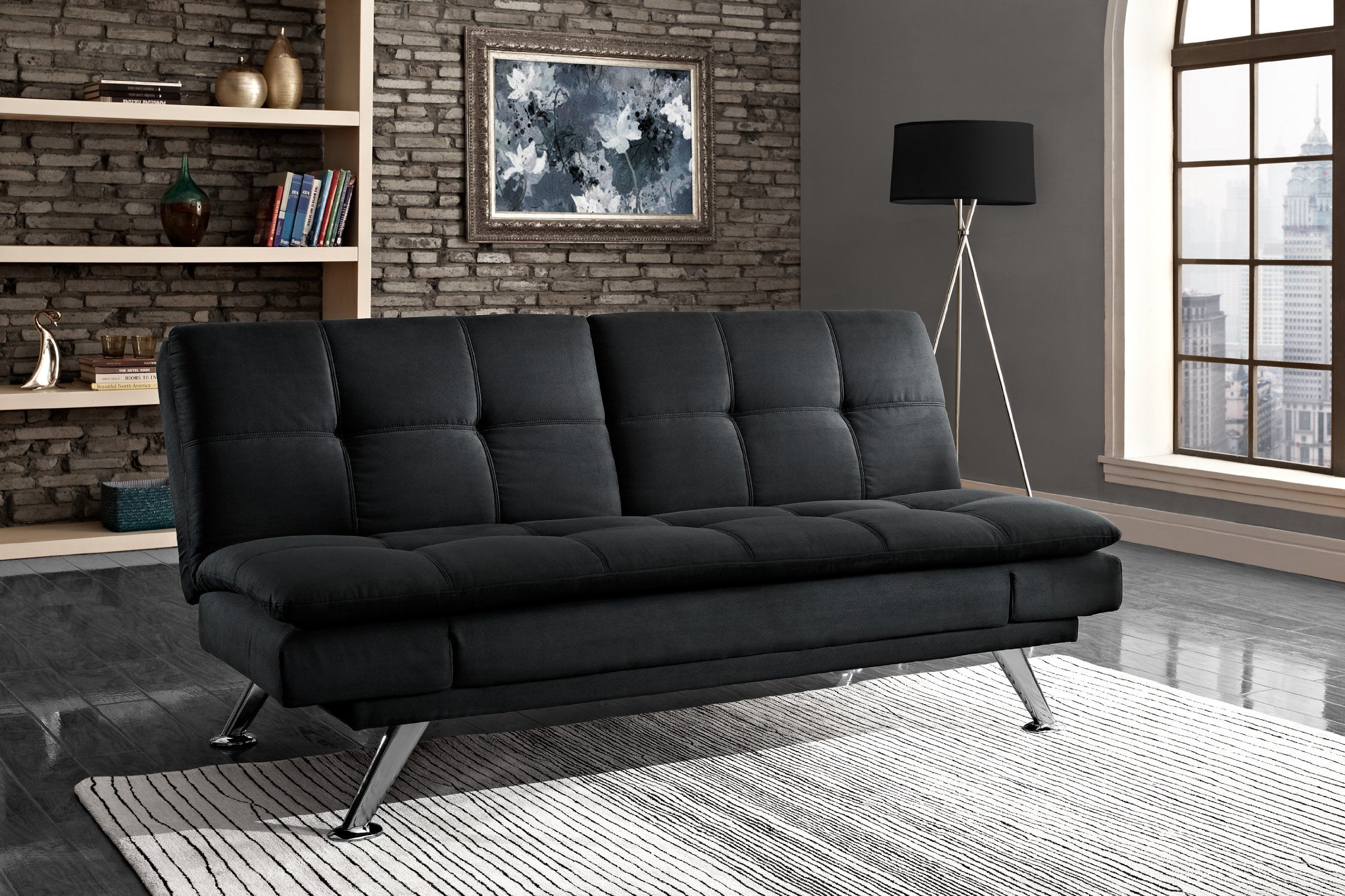 Dhp Bailey Upholstered Futon In Microfiber Upholstery Multiposition Back And Arms Full Size Black More Info Could Be Found At The Image Url