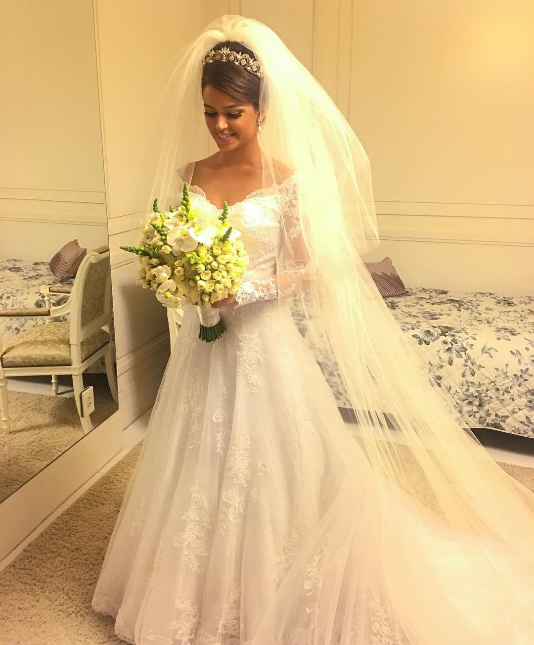 Off the shoulder v neck lace wedding dress ღ wedding dress