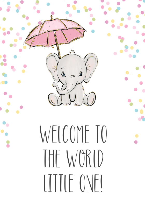 New Baby Girl Welcome To The World : welcome, world, Elephant, Shower, Greetings, Island, Cards,, Welcome, Cards