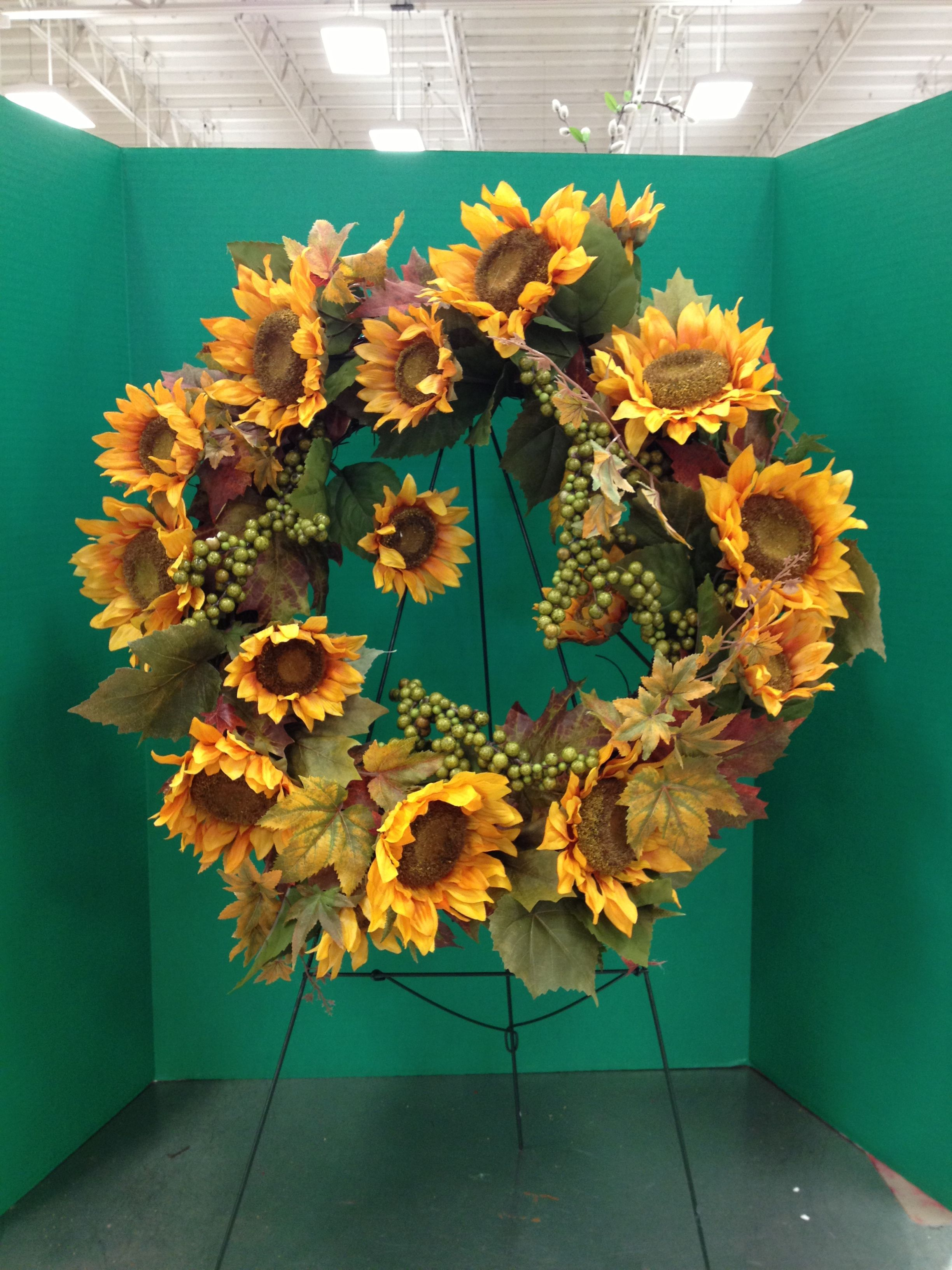 Sunflower wreath michaels arts and crafts by taylor for Find michaels arts and crafts