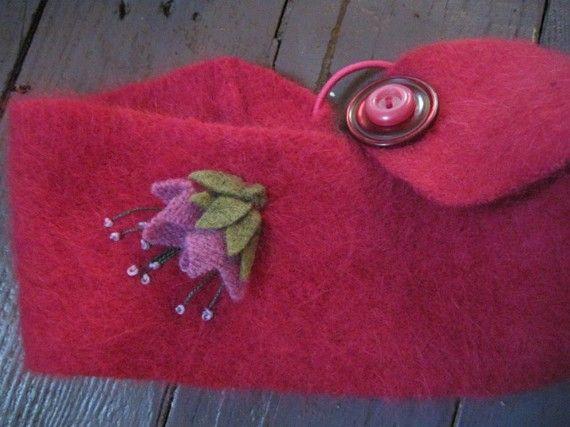 warm and fuzzy hot pink angora sweater headband by Earthgatherings, $24.00