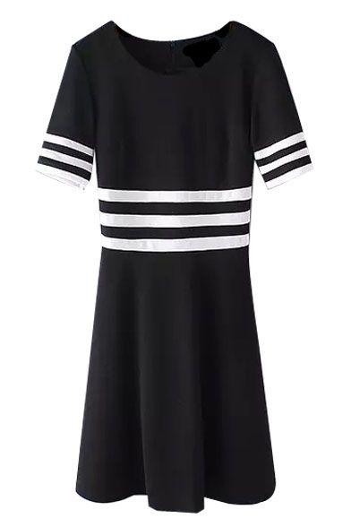 Stripe Trims Short Sleeve Color Block Midi Dress