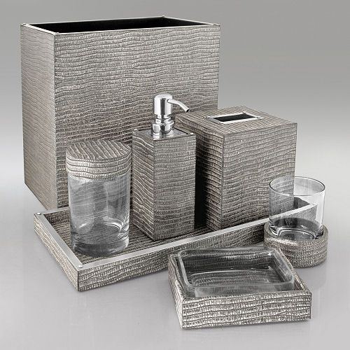 Gail Deloach Bath Accessories Silver Lizard Embossed Leather Collection Nice Splurge