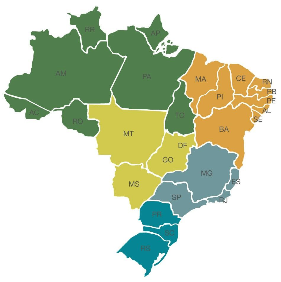 Mapadobrasilregioes Mapas Pinterest Do And Search - Mapa america do sul e brasil politico