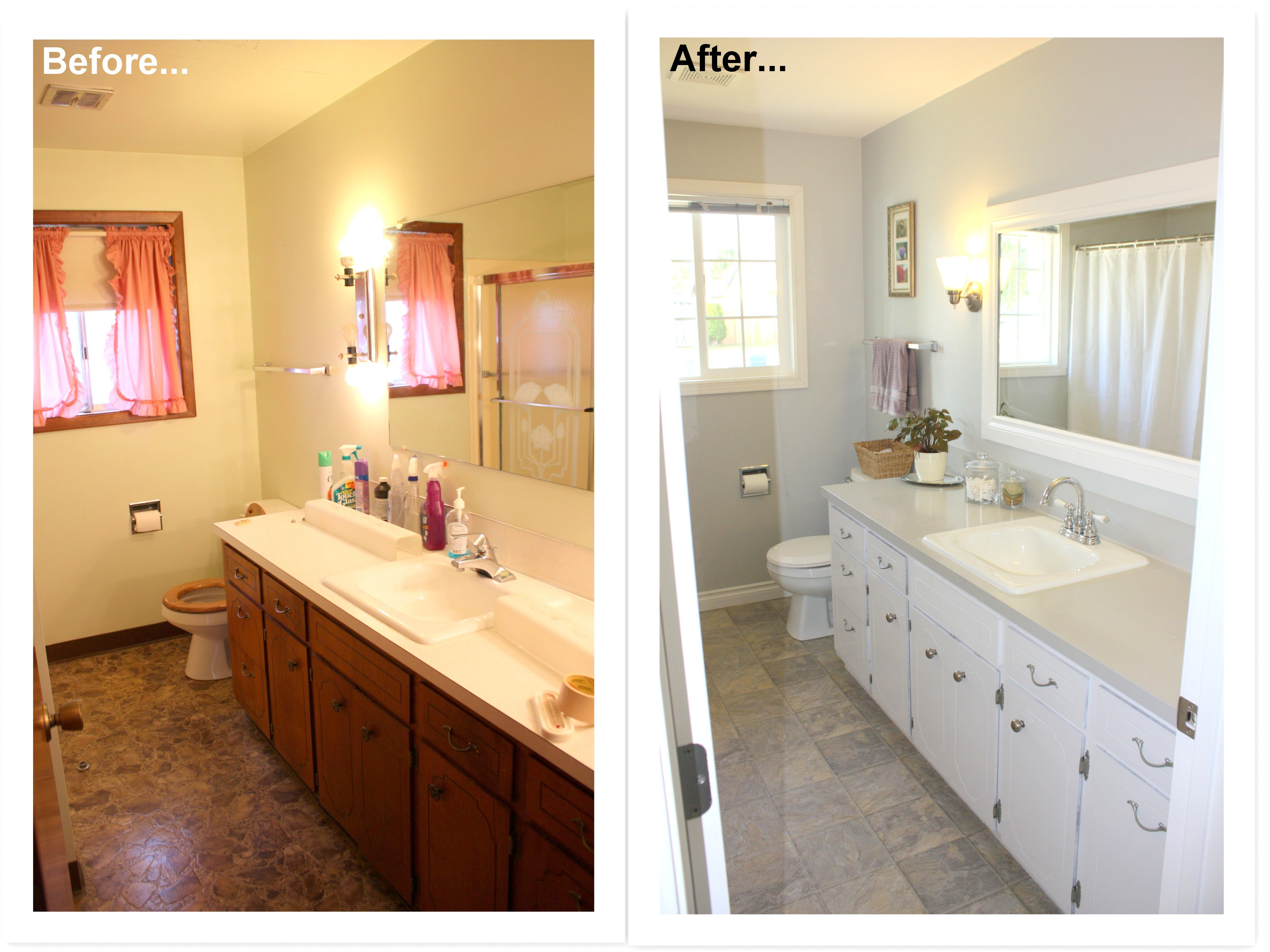 Bathroom Makeover Remodel Before And After 1960 S Bathroom To Modern And Updated Gray Bathroom Bathroom Makeover Painted Bathroom Floors Paint Cabinets White