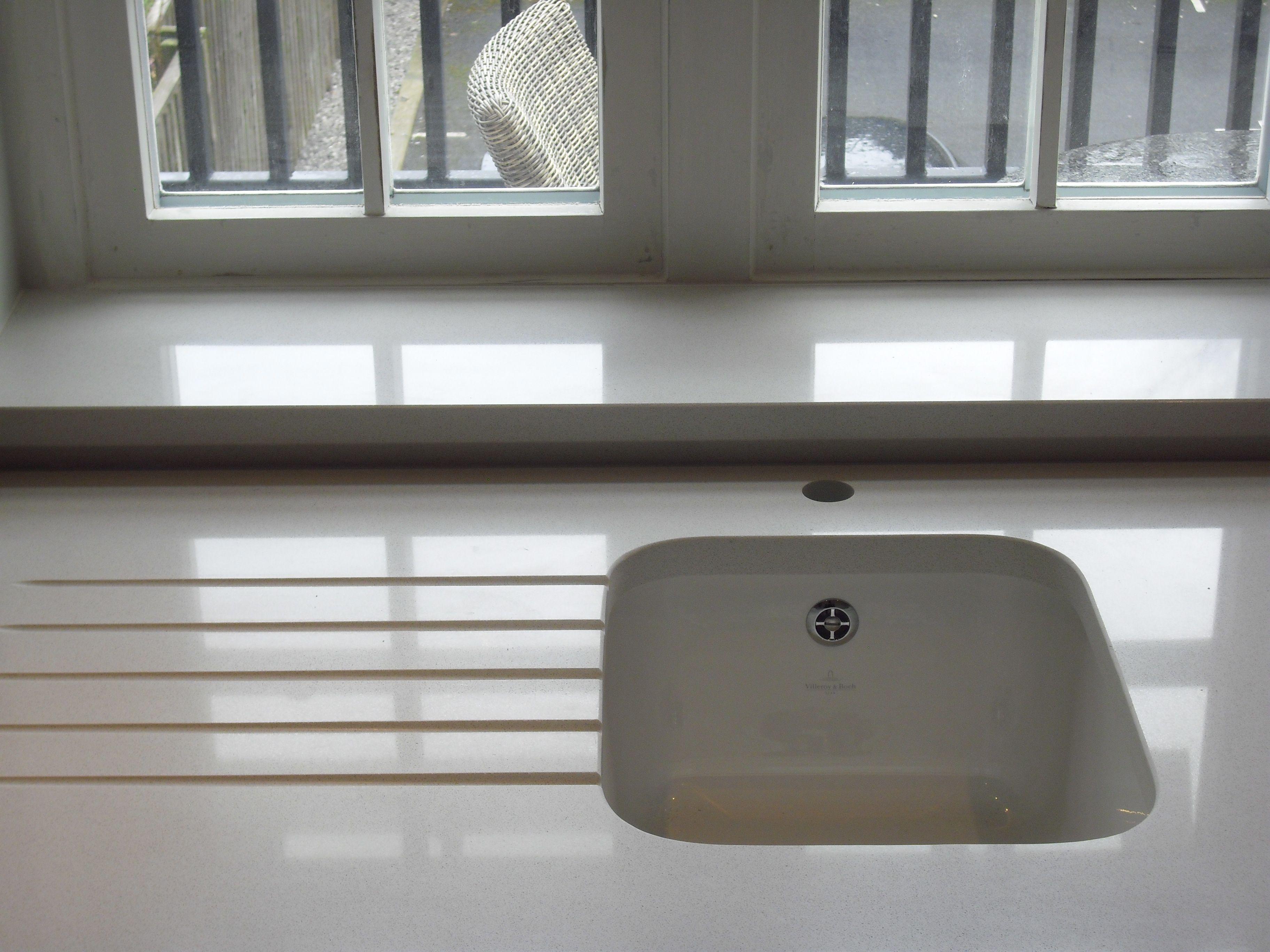 Compac luna quartz worktops with set of 5 drainer for Quartz integrated sink