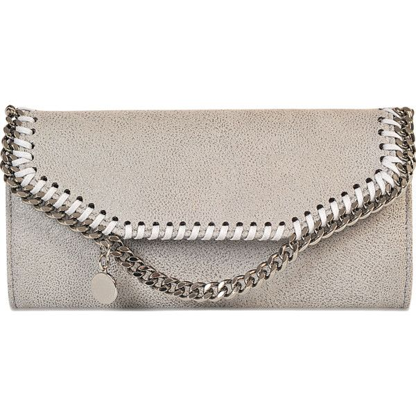 Stella McCartney Falabella Continental Wallet ($310) ❤ liked on Polyvore featuring bags, wallets, grey, stella mccartney bags, continental wallet, gray bag, stella mccartney wallet and grey bag