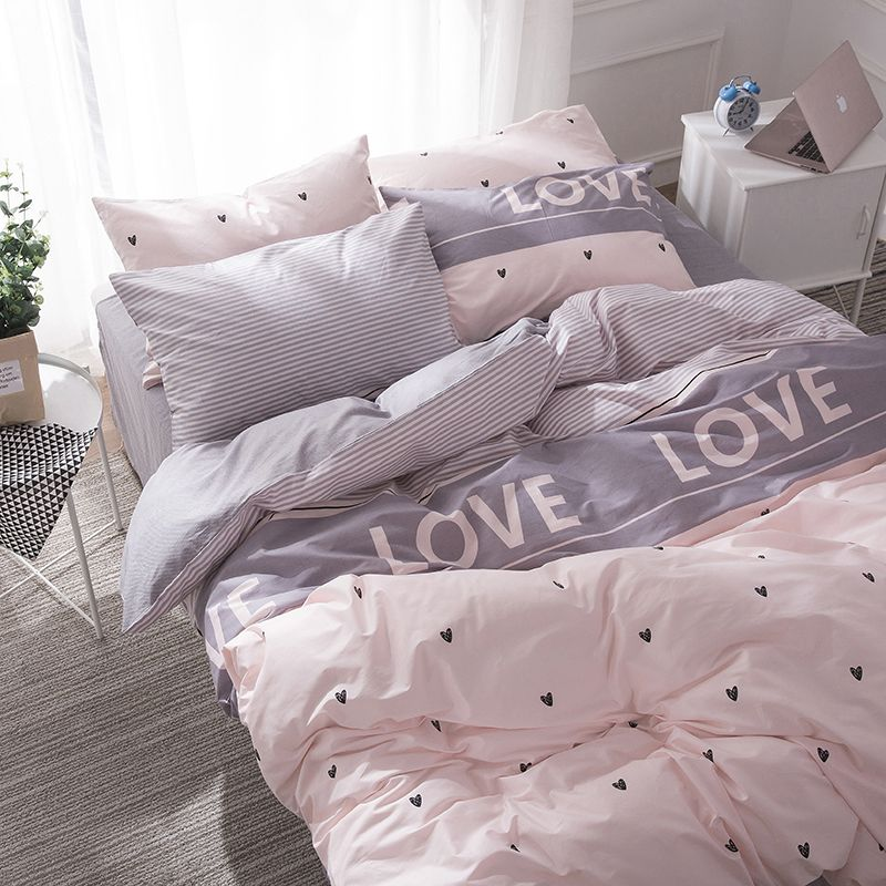 Bed Duvet Cover Bedroom Linen Princess Bedding Set With Hearts Bed