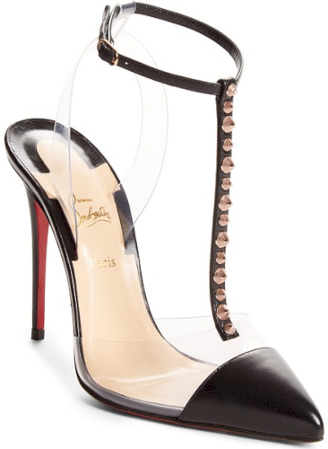 60edc01ee5 Christian Louboutin Nosy Spikes Pvc Pump in Black. Transparent-PVC paneling  creates a mod, floating effect for a seductive T-strap pump punctuated with  edgy ...