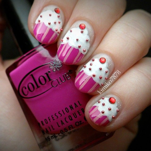 Pink Cakes With Cherry Nail Art - Pink Cakes With Cherry Nail Art Livened Beauty Pinterest