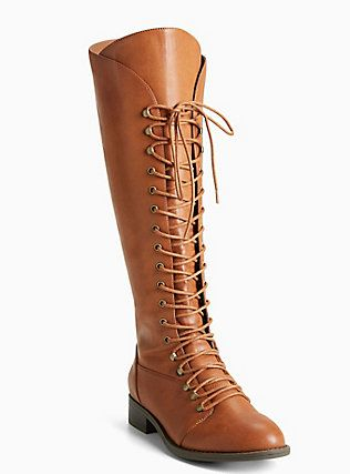 Plus Size Tall Lace Up Boots (Wide Width & Wide Calf), COGNAC