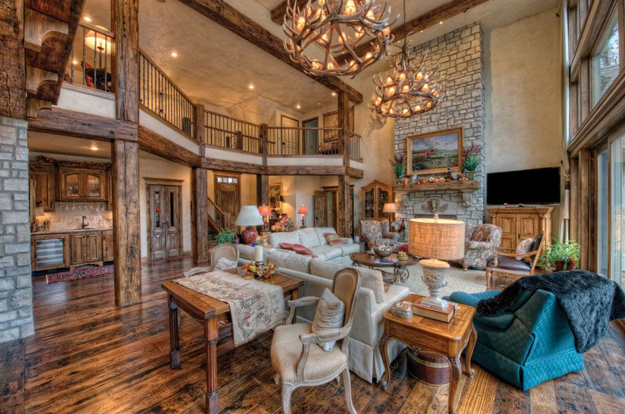 elegant french country style meets a rustic lodge atmosphere in the pointe royale home of bob and linda edmonds