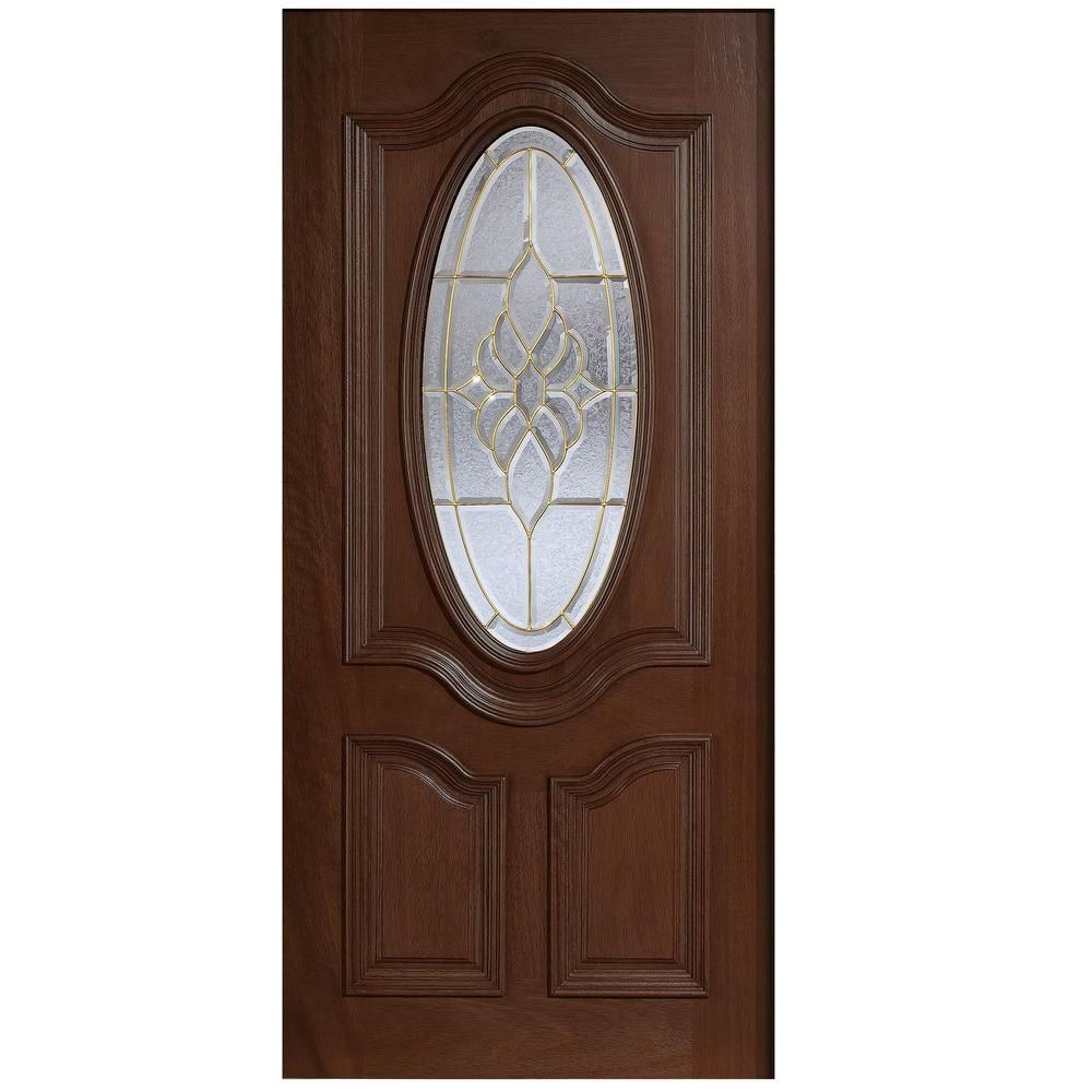 Main Door 32 in. x 80 in. Mahogany Type 3/4 Oval Glass Prefinished ...
