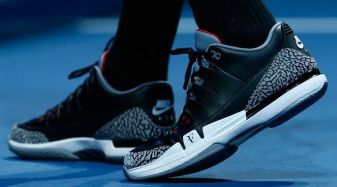 c9a669db2c37  SoleWatch  Roger Federer Wears  Black Cement  Nike Zoom Vapor Air Jordan 3